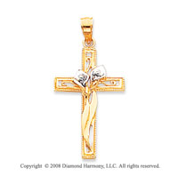 Finely Carved 14k Two Tone Cross Pendant