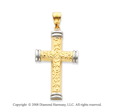 14k Two-Tone Unique Tube Cross Pendant
