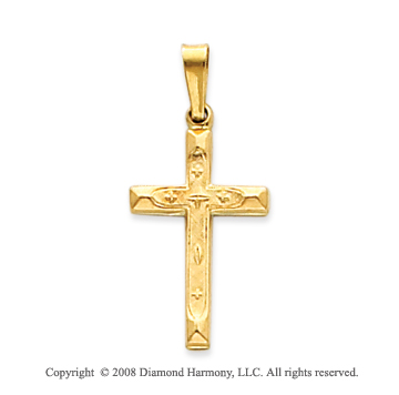14k Yellow Gold Fashionable Carved Cross Pendant