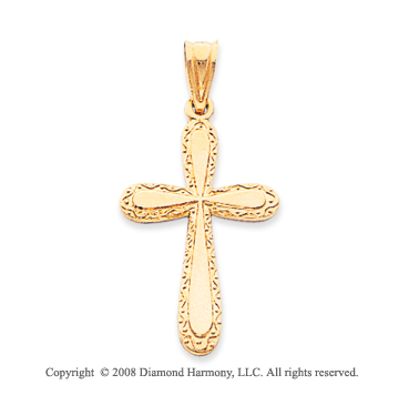 14k Yellow Gold Simple Elegant Polished Cross Pendant