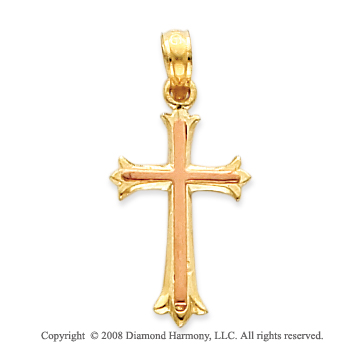 14k Two Tone Fine Polished Cross Pendant