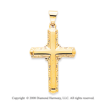 14k Yellow Gold Glorious Classic Cross Pendant