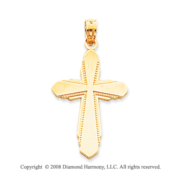 14k Yellow Gold Pure Devotion Fashion Medium Cross Pendant