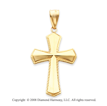 14k Yellow Gold Pure Devotion Shining Cross Pendant