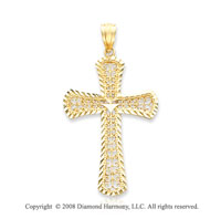 14k Yellow Gold Filigree Fine Carved Cross Pendant