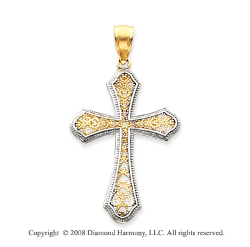 14k Two-Tone Filigree Elegant Fashion Cross Pendant