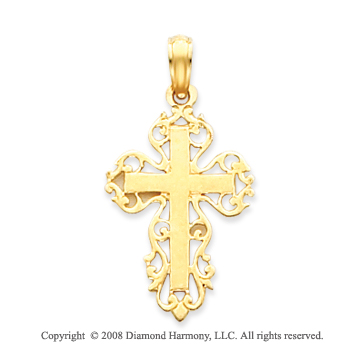 14k Yellow Gold Filigree Distinct Carved Cross Pendant