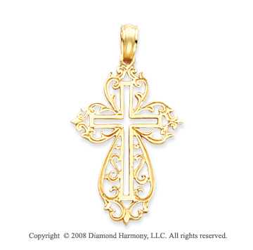 14k Yellow Gold Open Style Filigree Fashion Cross Pendant