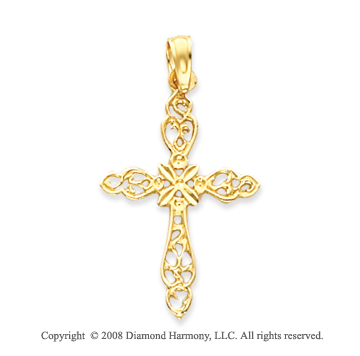 14k Yellow Gold Filigree Elegant Large Fashion Cross Pendant