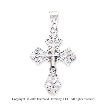 14k White Gold Stunning Carved Filigree Cross Pendant