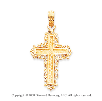 14k Yellow Gold Blessed Filigree Design Cross Pendant