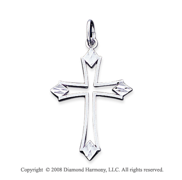 14k White Gold Open Style Small Fashion Cross Pendant