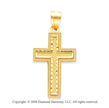 14k Yellow Gold Blessed Classic Carved Cross Pendant