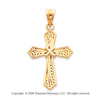14k Yellow Gold Polished Stylish Cross Pendant