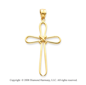 14k Yellow Gold Elegant Curvy Petals Cross Pendant