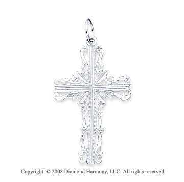 14k White Gold Blessed Filigree Design Cross Pendant