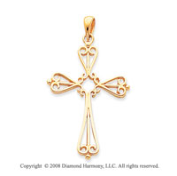 14k Yellow Gold Elegant Fashion Medium Cross Pendant