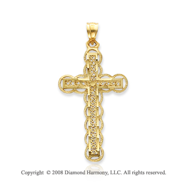 14k Yellow Gold Elegant Carved Cross Pendant