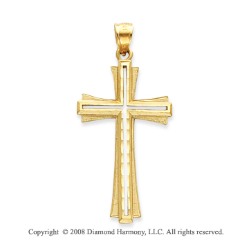 14k Yellow Gold Elegant Carved Cross on Cross Pendant
