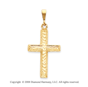 14k Yellow Gold Ornate Fashion Cross Pendant