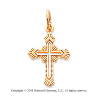 14k Yellow Gold Open Style Fashion Cross Pendant