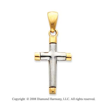 14k Two Tone Unique Tube Cross Pendant