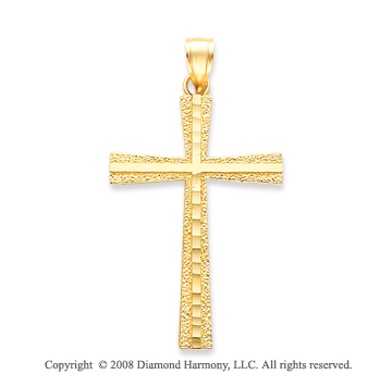 Simple Stylish 14k Yellow Gold Modern Cross Pendant