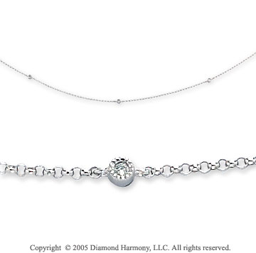 14k White Gold Milgrain Bezel Diamond By The Yard Necklace
