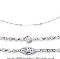 14k White Gold Bezel & Prong Diamond By The Yard Necklace