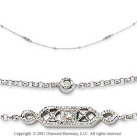 14k White Gold Filigree Round Diamond By The Yard Necklace