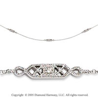 14k White Gold Pave & Bezel Diamond By The Yard Necklace