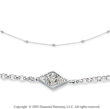 14k White Gold Milgrain Diamond By The Yard Necklace