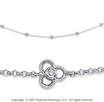 14k White Gold Cloverleaf Diamond By The Yard Necklace
