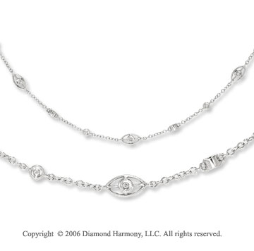 14k White Gold Filigree Bezel Diamond By The Yard Necklace