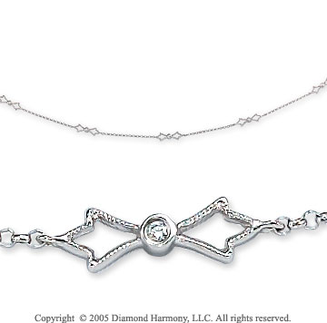 14k White Gold Bowtie Diamond By The Yard Necklace