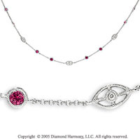 14k White Gold Ruby Bezel Diamond By The Yard Necklace