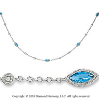 14k White Gold Blue Topaz Diamond By The Yard Necklace