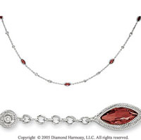 14k White Gold Red Garnet Diamond By The Yard Necklace
