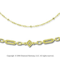 14k Yellow Gold Oval Rope Diamond By The Yard Necklace