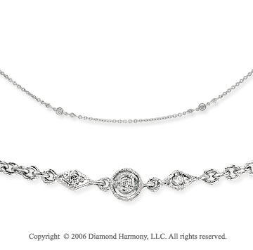 14k White Gold Filigree Diamond By The Yard Necklace