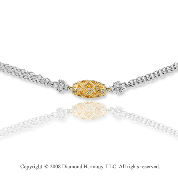 14k Two Tone Diamond By The Yard Necklace