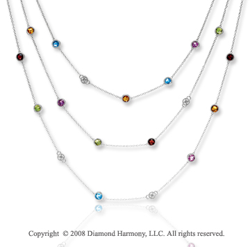 14k White Gold Multi Gemstone Diamond By The Yard Necklace