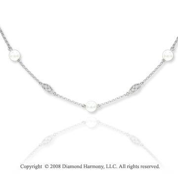 14k White Gold Pearl Diamond By The Yard Necklace