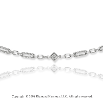 14k White Gold Oval Rope Diamond By The Yard Necklace
