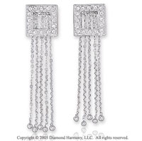 14k White Gold Round 1/3  Carat Diamond Drop Earrings