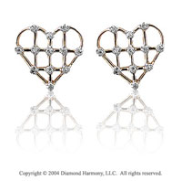 Diamond Prong 14k YG Open Heart Earrings
