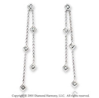 14k White Gold Stiletto Round Diamond Drop Earrings