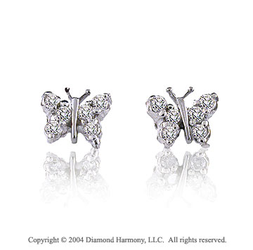 14k White Gold Butterfly .50  Carat Diamond Button Earrings
