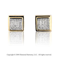 14k Yellow Gold Princess 1.00 Carat Diamond Button Earrings
