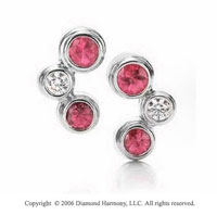 14k White Gold Bubble Ruby .30  Carat Diamond Drop Earrings